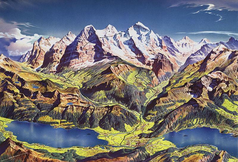 Jungfraubahn Map by Heinrich Berann